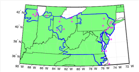 The PJM Interconnection power grid area in the blue lines. Pink stars are the meteorological data sites (from paper)