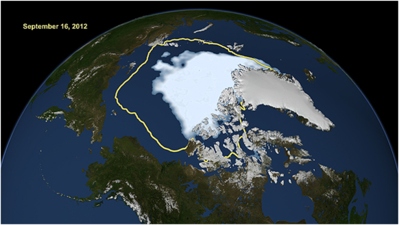 Sea ice area minimum from September 2012 (image: NASA/Goddard Space Flight Center Scientific Visualization Studio)