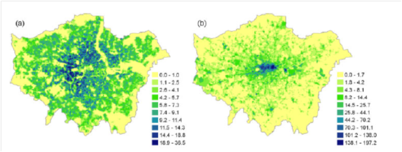 Building heat emissions domestic (left) and industrial (right) (from paper)