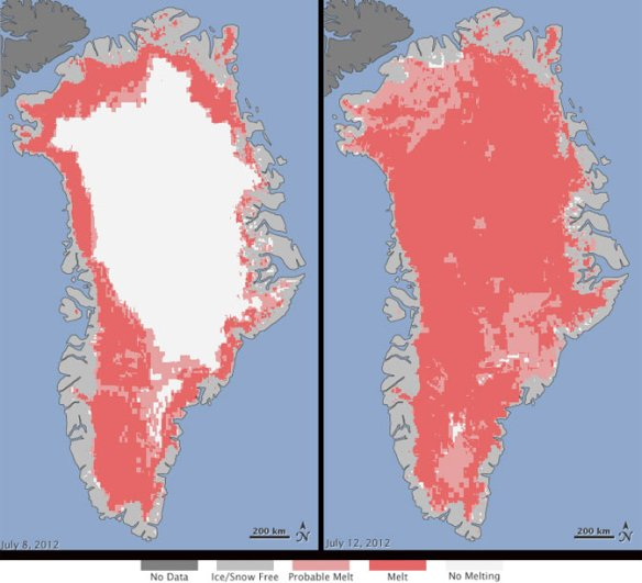 Greenland – July 8th on the left only half melting. July 12th on the right, almost all melting (Image: Nicolo E. DiGirolamo, SSAI/NASA GSFC, and Jesse Allen, NASA Earth Observatory)