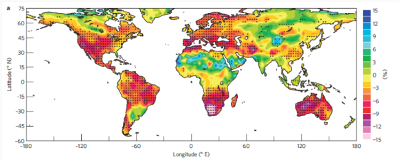 Predicted changes in soil moisture globally for 1980–2080 (black dots are where 9 out of 11 models agree on data) (from paper)
